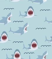 lindo tiburón con la boca abierta de patrones sin fisuras vector