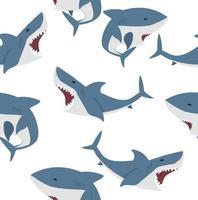 patrón transparente de vector plano de gran tiburón