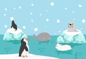 animales salvajes del ártico vector