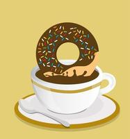 Cup with black coffee and donut vector