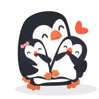 linda mamá de pingüinos con pingüinos bebé vector