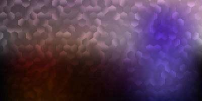 Dark pink, yellow vector texture with colorful hexagons.