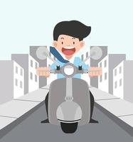 Young man driving his motorcycle outdoors vector