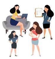 Women doing different activities set vector