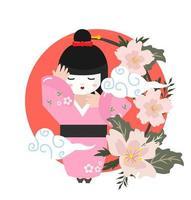cute geisha girl with flowers vector