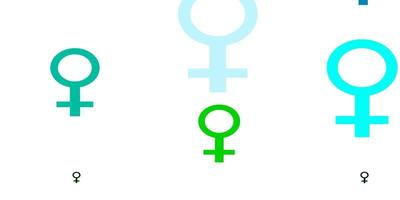 Light Blue, Green vector texture with women's rights symbols.