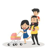 Young Couple Pushing Stroller vector