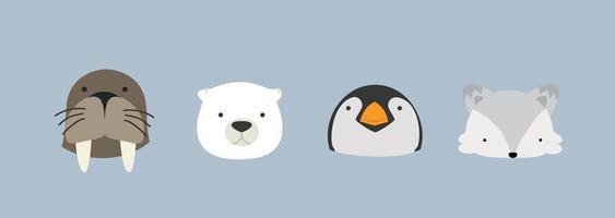 conjunto de personajes de dibujos animados de cabeza de animal ártico vector