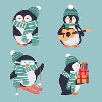 conjunto de lindos pingüinos de invierno con hast verde y bufandas