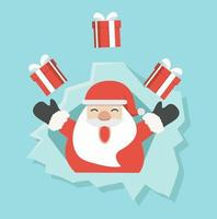 Santa Claus with gift in ripped paper hole vector