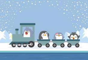 family penguin riding a train to the arctic vector