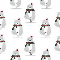 Cute bear with santa hat on a bicycle seamless pattern