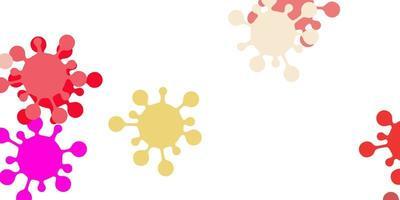 textura de vector rosa claro, amarillo con símbolos de enfermedades.