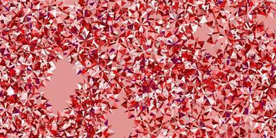 textura de vector rosa claro, rojo con copos de nieve brillantes.