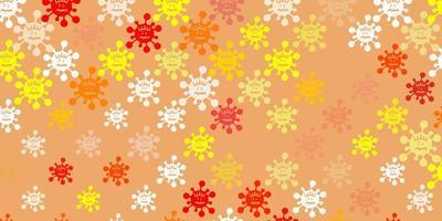 Patrón de vector naranja claro con elementos de coronavirus.