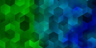 Fondo de vector azul claro, verde con conjunto de hexágonos.