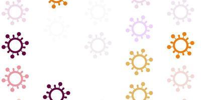 plantilla de vector rosa claro, amarillo con signos de gripe.