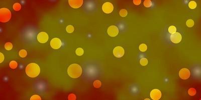 patrón de vector naranja claro con círculos, estrellas.