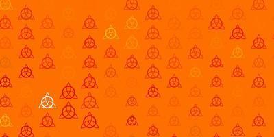 Light Orange vector texture with religion symbols.