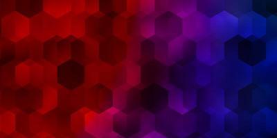 Fondo de vector azul claro, rojo con conjunto de hexágonos.