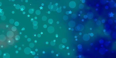 Light Blue, Green vector background with circles, stars