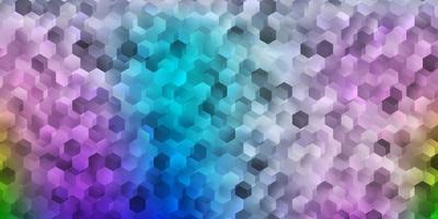 Light blue, red vector template in a hexagonal style.