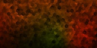 Dark green, yellow vector background with hexagonal shapes.