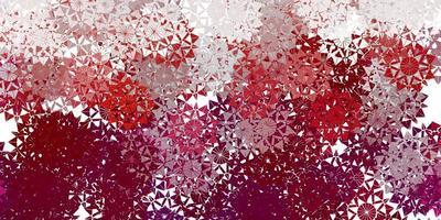 Fondo de vector violeta claro con copos de nieve de Navidad.