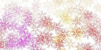 Light pink, yellow vector abstract texture with leaves.
