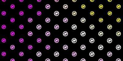 Dark Pink, Yellow vector texture with disease symbols.