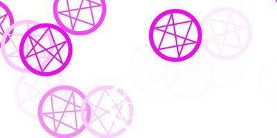 textura de vector rosa claro con símbolos religiosos.