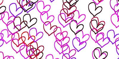 Light Purple, Pink vector backdrop with sweet hearts.