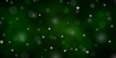 textura de vector verde oscuro con círculos, estrellas.