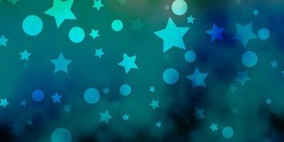 diseño de vector azul claro, verde con círculos, estrellas.