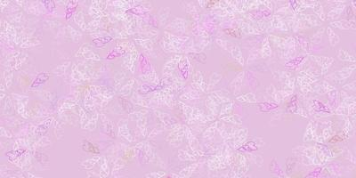 Light pink, green vector abstract texture with leaves.