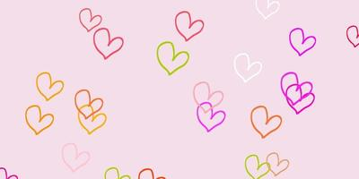 Light Pink, Green vector background with hearts.