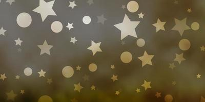 Light Green vector pattern with circles, stars.