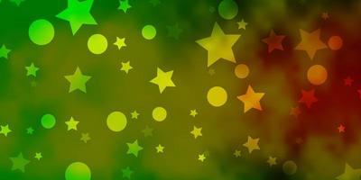 patrón de vector verde claro, amarillo con círculos, estrellas.