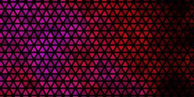 Telón de fondo de vector violeta, rosa oscuro con líneas, triángulos.