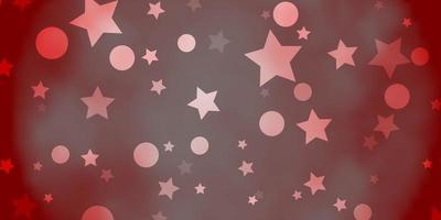 textura de vector naranja claro con círculos, estrellas.