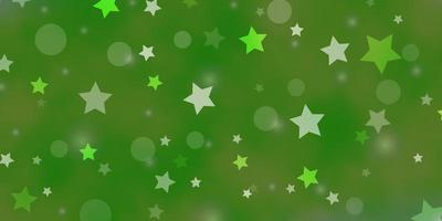 Light Green vector template with circles, stars.