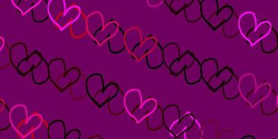 Light Pink vector backdrop with sweet hearts.