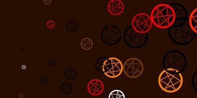 Telón de fondo de vector naranja claro con símbolos de misterio.
