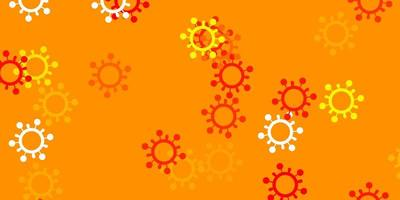 plantilla de vector rojo, amarillo claro con signos de gripe.