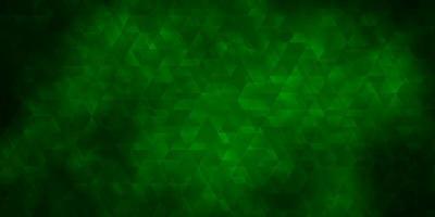 plantilla de vector verde oscuro con líneas, triángulos.