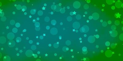 diseño de vector verde claro con círculos, estrellas.