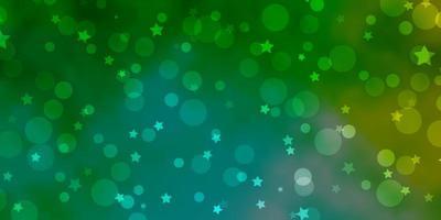 Fondo de vector azul claro, verde con círculos, estrellas