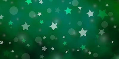 plantilla de vector verde claro con círculos, estrellas.