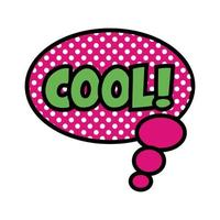 speech bubble with expression cool, pop art flat style