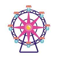 fairground ferris wheel flat style icon vector